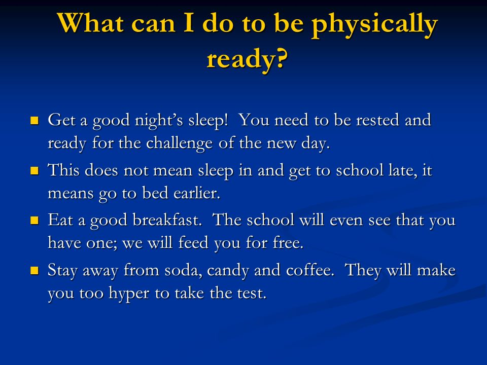 What can I do to be physically ready