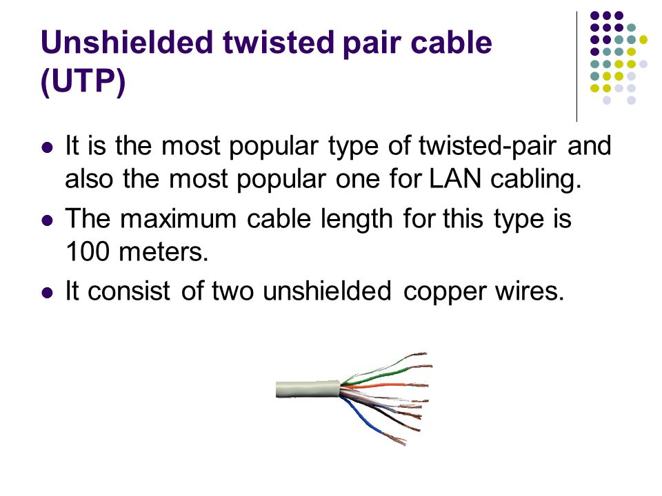 unshielded twisted pair essay Unshielded twisted-pair- a cable with multiple pairs of twisted insulated copper conductors bound in a single sheath shielded twisted-pair- a cable surrounded by a twisted braid, foil or both and bound in a single plastic sheath containing balanced twisted-pair conductors that are individually shielded.