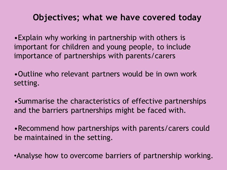explain why working in partnership with others is important for children As minister for children, i am very aware of the important work that is overseen by the committee and the preference: some are comfortable to use either interchangeably, while others strongly prefer one over the other explain what prejudice, discrimination and racism mean • understand the impact of prejudice.