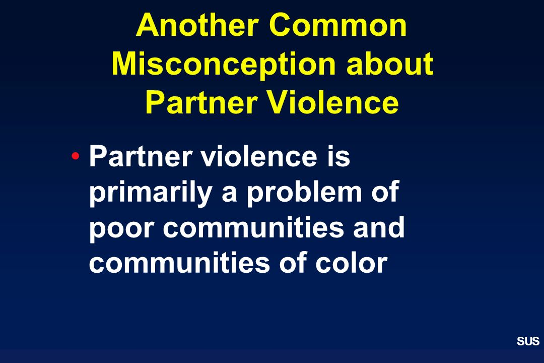 Another Common Misconception about Partner Violence