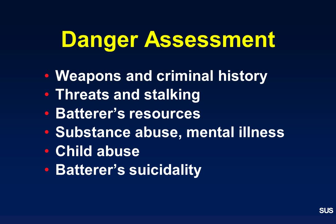 Danger Assessment Weapons and criminal history Threats and stalking