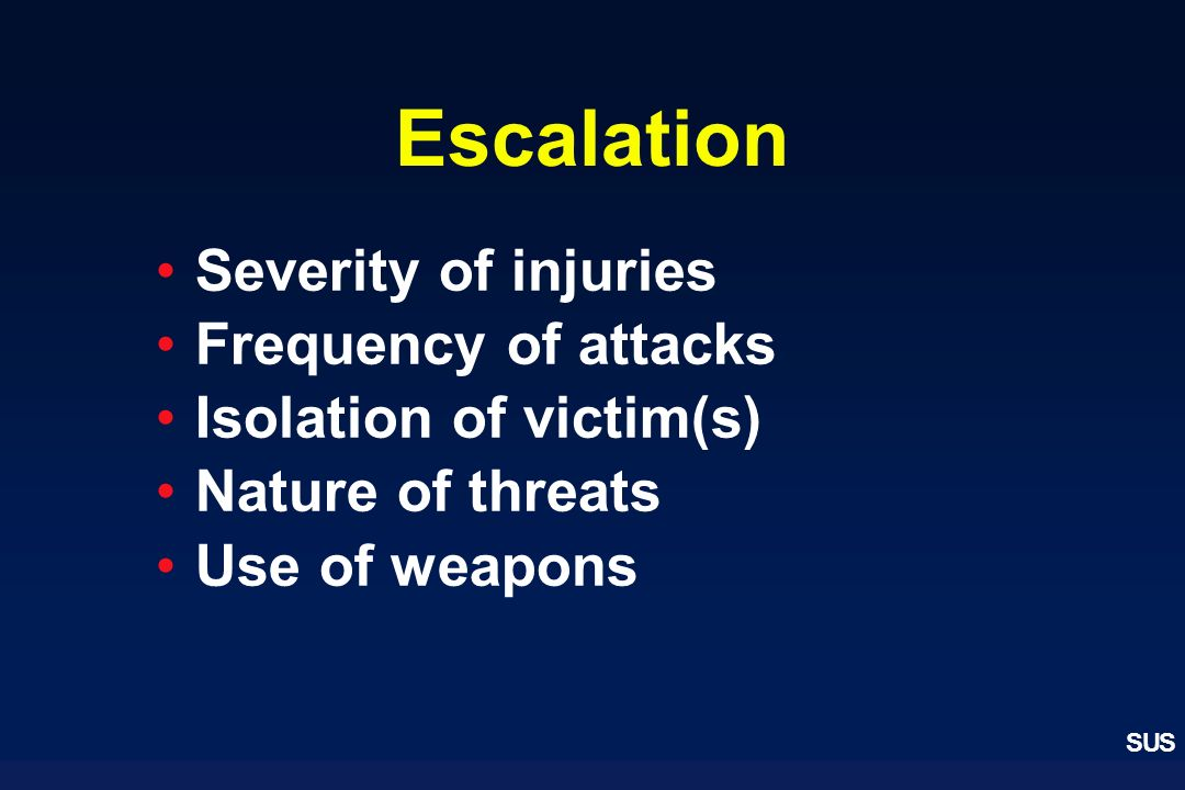 Escalation Severity of injuries Frequency of attacks