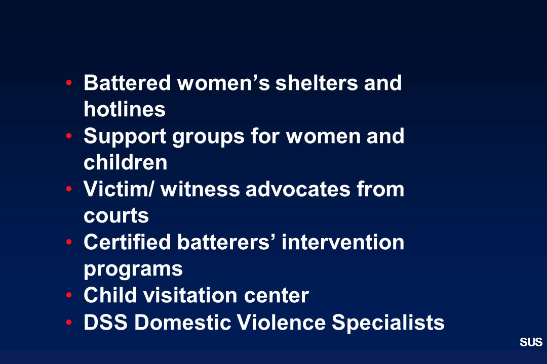 Battered women's shelters and hotlines