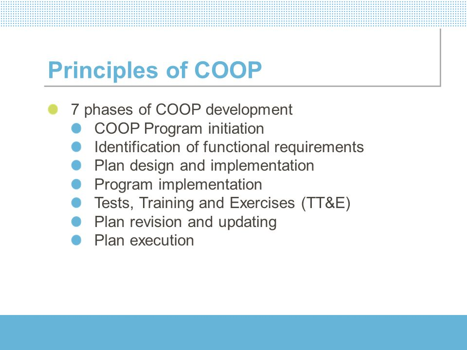 Principles of COOP 7 phases of COOP development