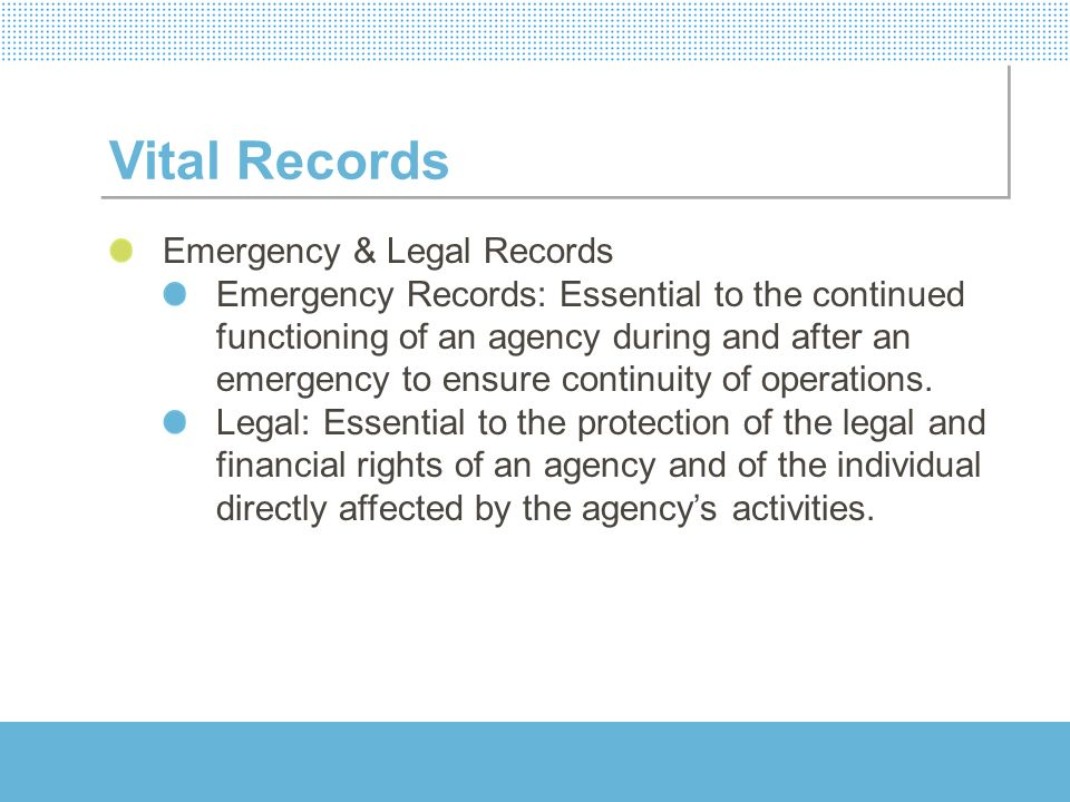 Vital Records Emergency & Legal Records