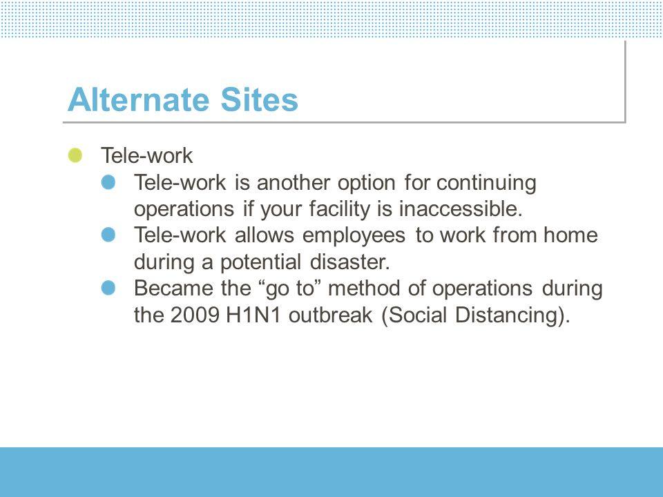 Alternate Sites Tele-work