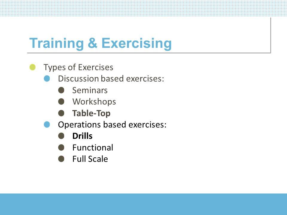Training & Exercising Types of Exercises Discussion based exercises: