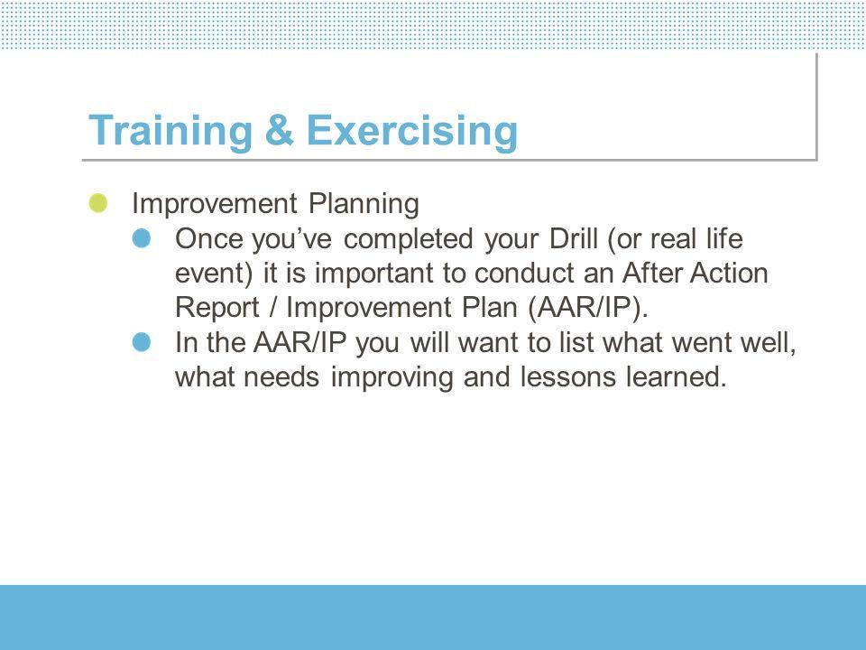 Training & Exercising Improvement Planning
