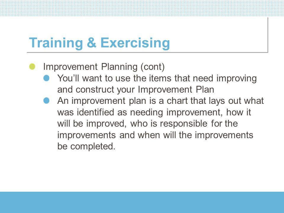 Training & Exercising Improvement Planning (cont)