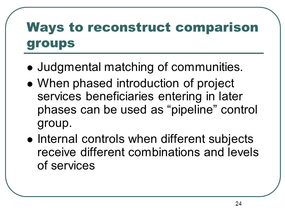 Ways to reconstruct comparison groups