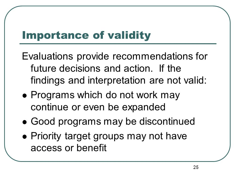 Importance of validity