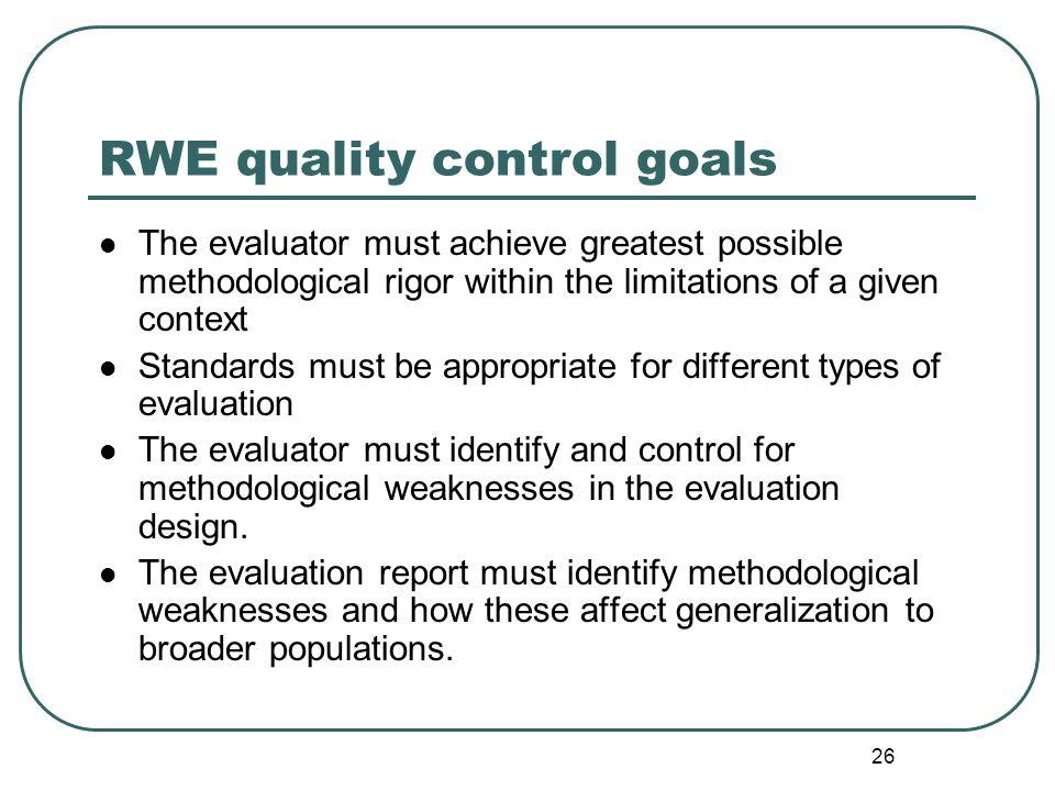 RWE quality control goals