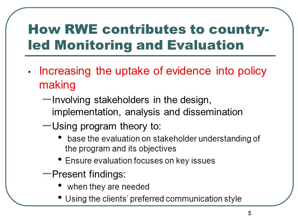 How RWE contributes to country-led Monitoring and Evaluation