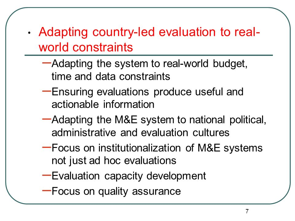 Adapting country-led evaluation to real-world constraints