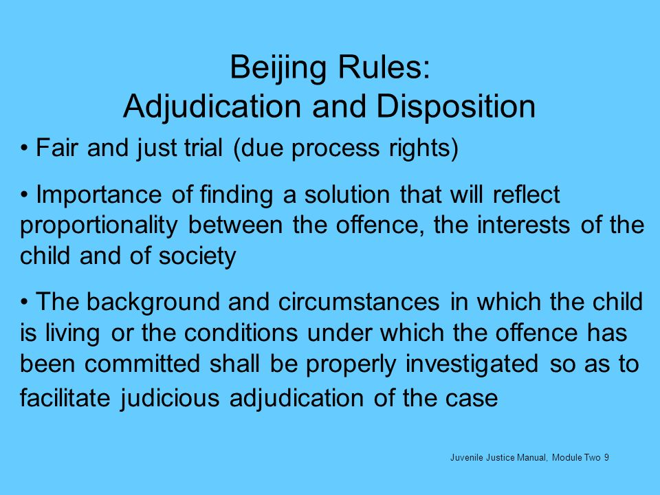 Beijing Rules: Adjudication and Disposition