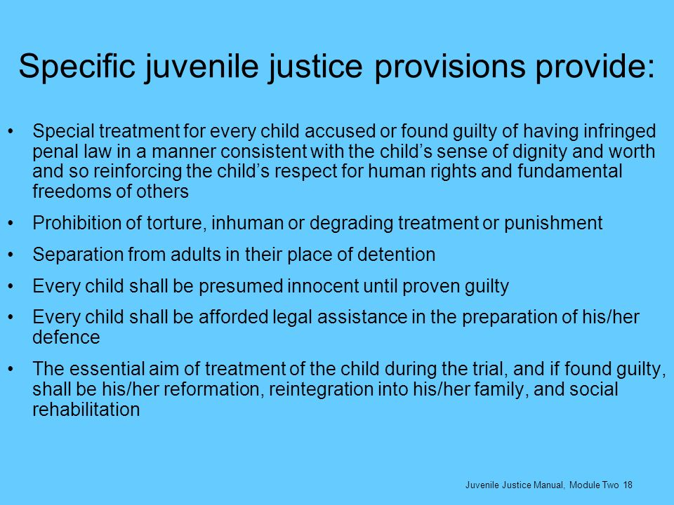 Specific juvenile justice provisions provide: