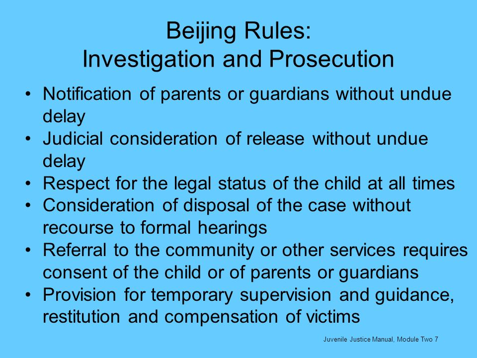 Beijing Rules: Investigation and Prosecution