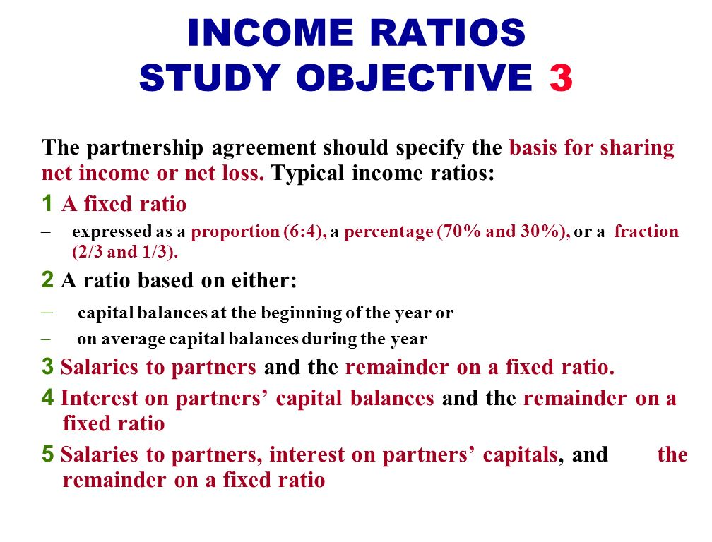 INCOME RATIOS STUDY OBJECTIVE 3