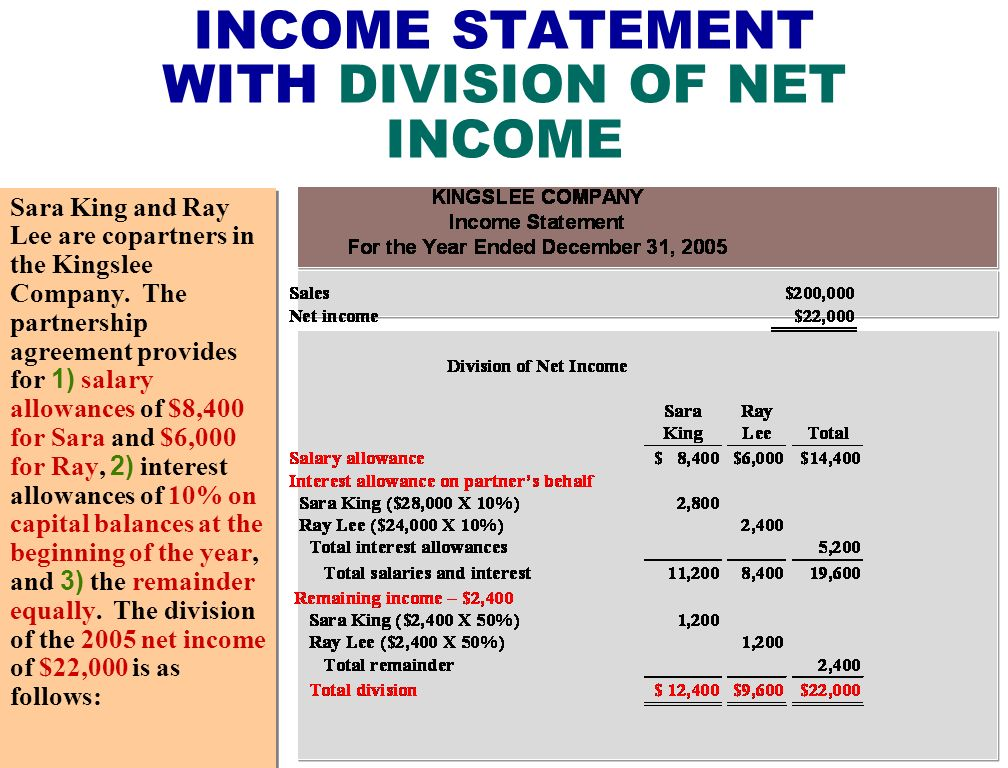 INCOME STATEMENT WITH DIVISION OF NET INCOME