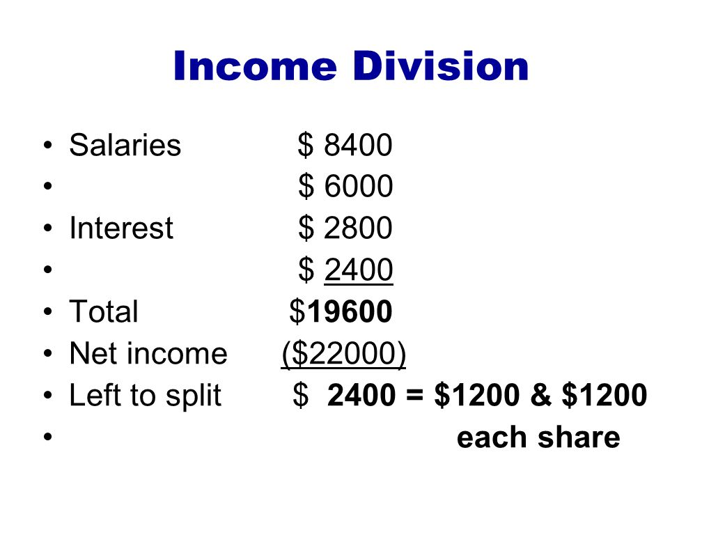 Income Division Salaries $ 8400 $ 6000 Interest $ 2800 $ 2400