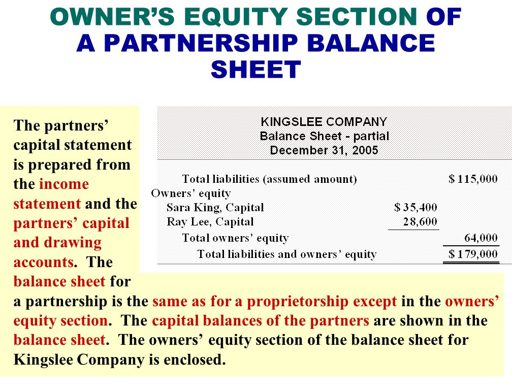 OWNER'S EQUITY SECTION OF A PARTNERSHIP BALANCE SHEET