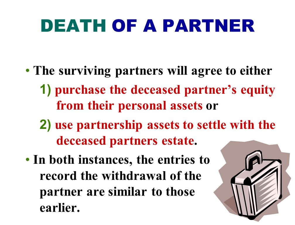 DEATH OF A PARTNER The surviving partners will agree to either
