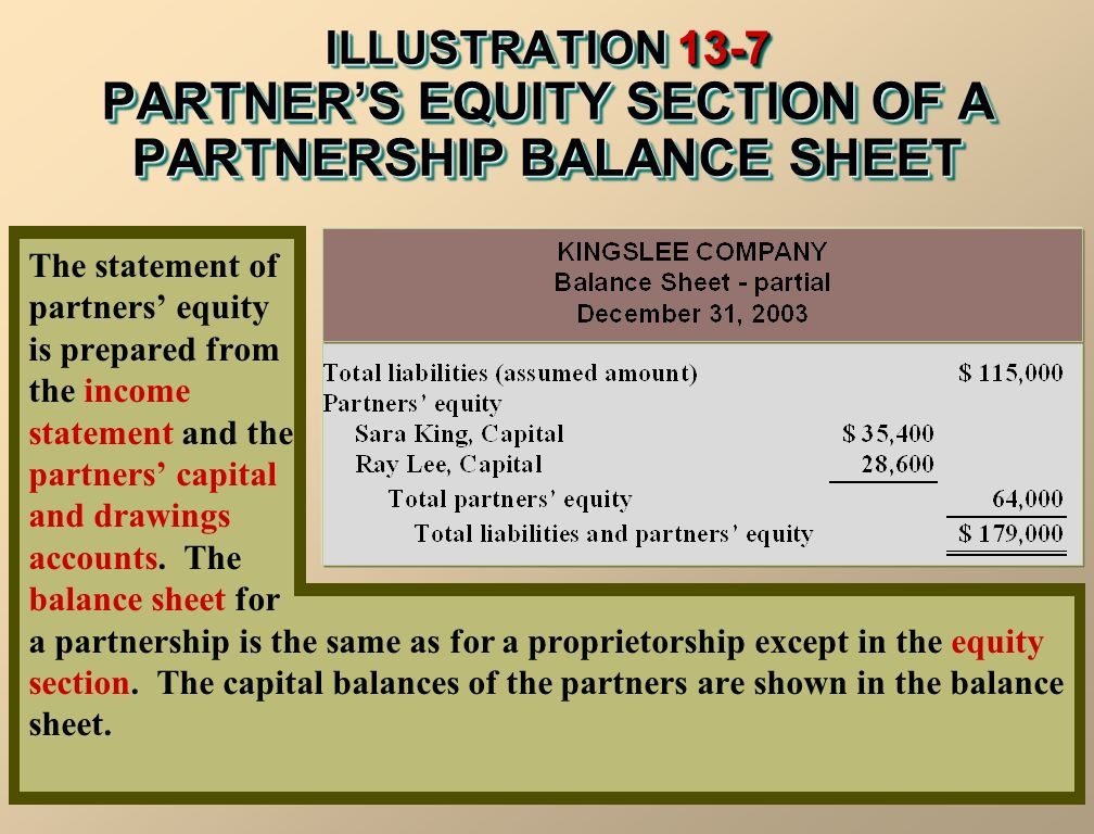 ILLUSTRATION 13-7 PARTNER'S EQUITY SECTION OF A PARTNERSHIP BALANCE SHEET