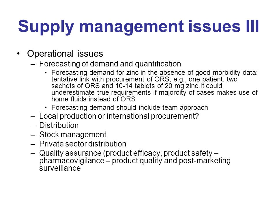 Supply management issues III