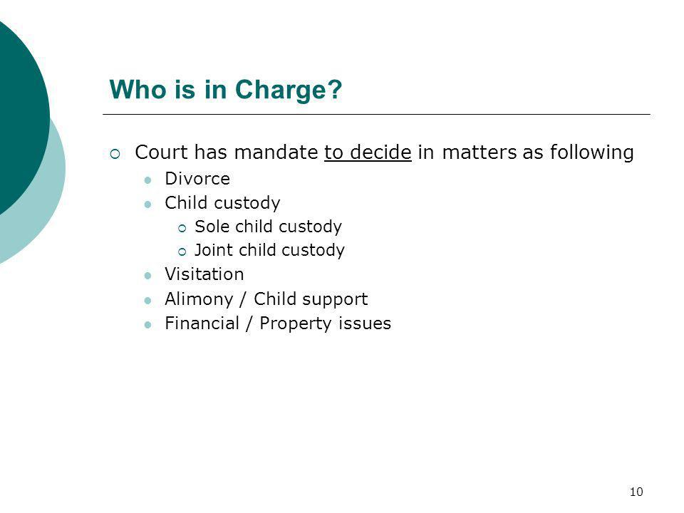 Who is in Charge Court has mandate to decide in matters as following
