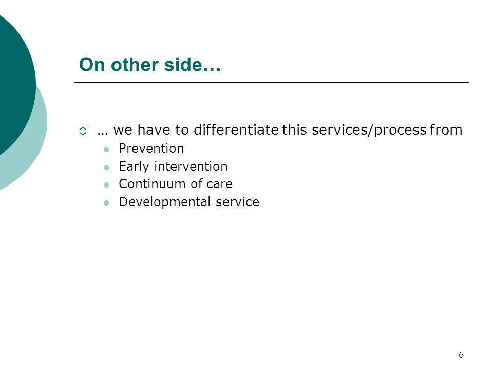 On other side… … we have to differentiate this services/process from