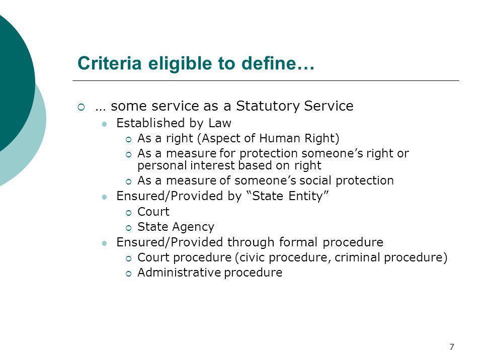 Criteria eligible to define…