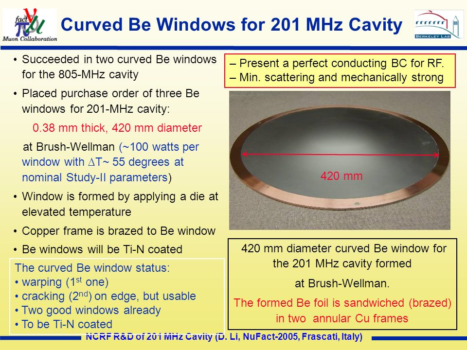 Curved Be Windows for 201 MHz Cavity