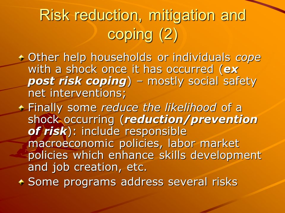 Risk reduction, mitigation and coping (2)