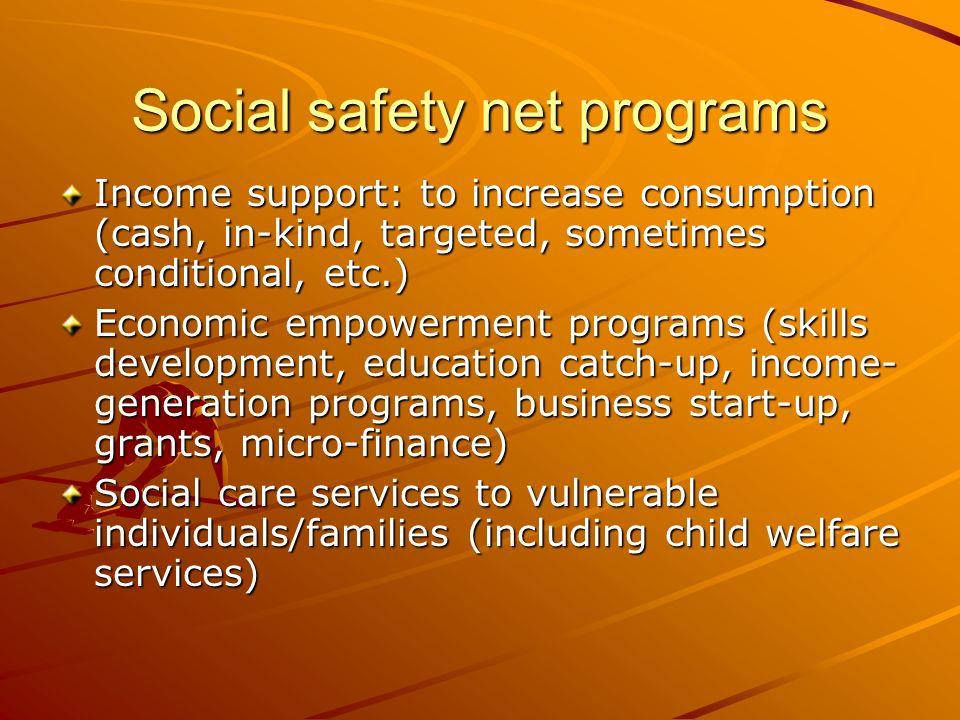 Social safety net programs