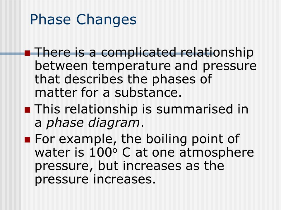 temperature and phase change relationship with food