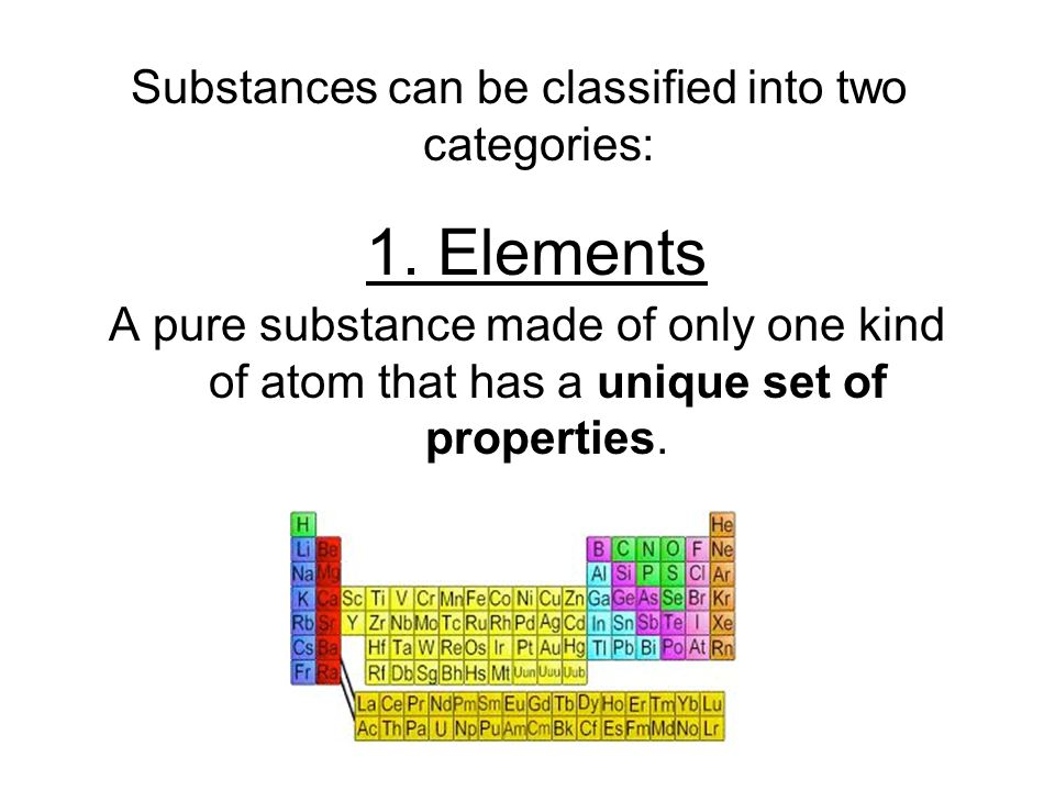 Substances can be classified into two categories: