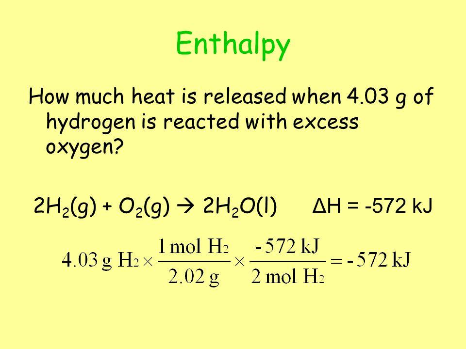 2H2(g) + O2(g)  2H2O(l) ΔH = -572 kJ