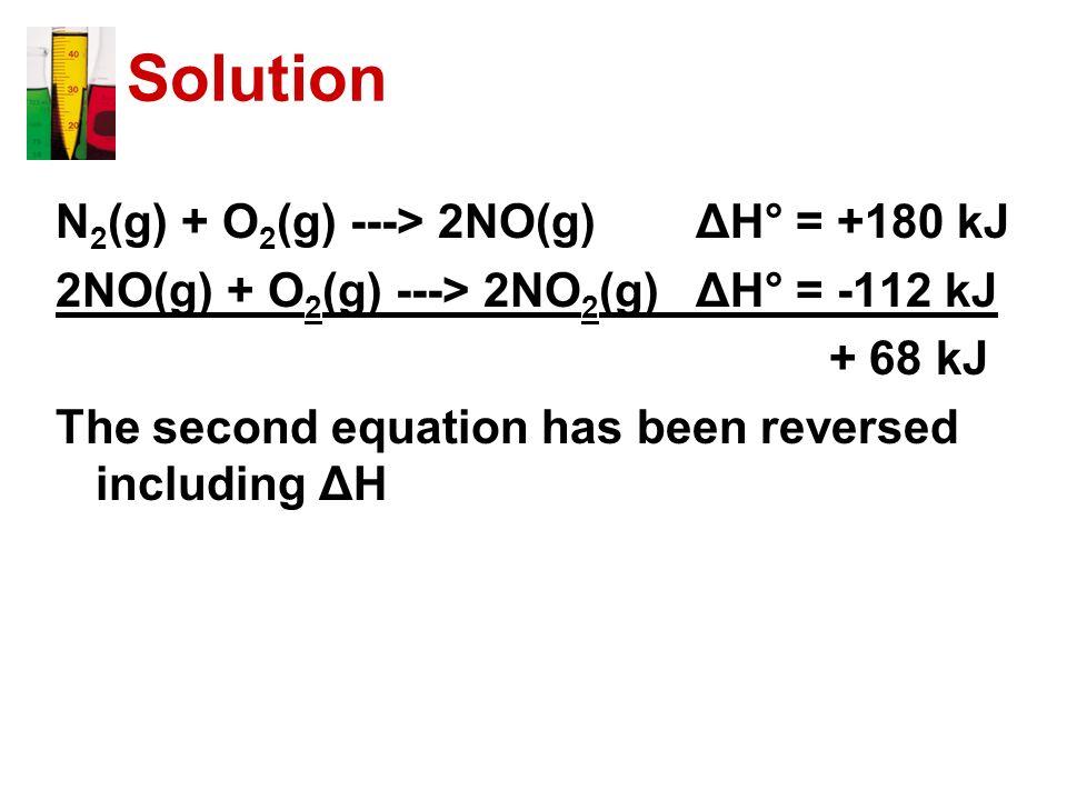 Solution N2(g) + O2(g) ---> 2NO(g) ΔH° = +180 kJ