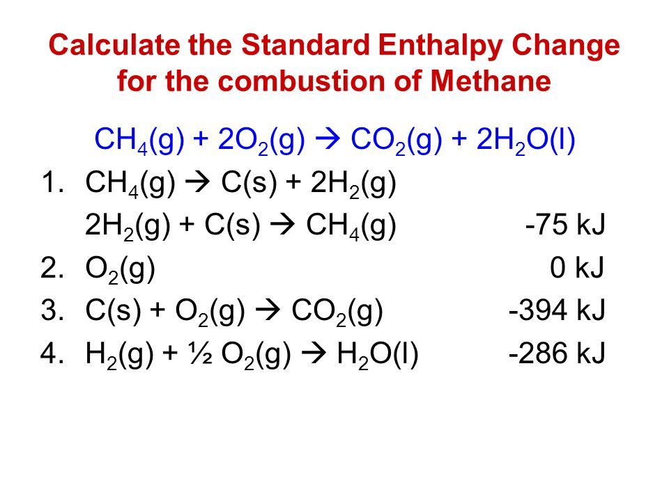 Calculate the Standard Enthalpy Change for the combustion of Methane