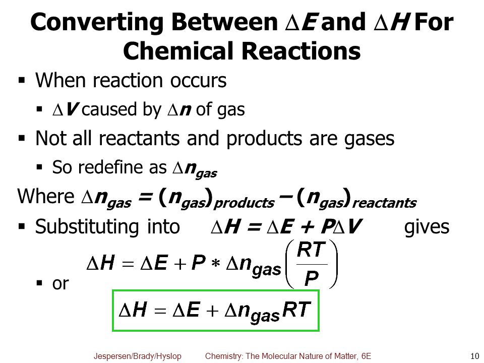 Converting Between E and H For Chemical Reactions