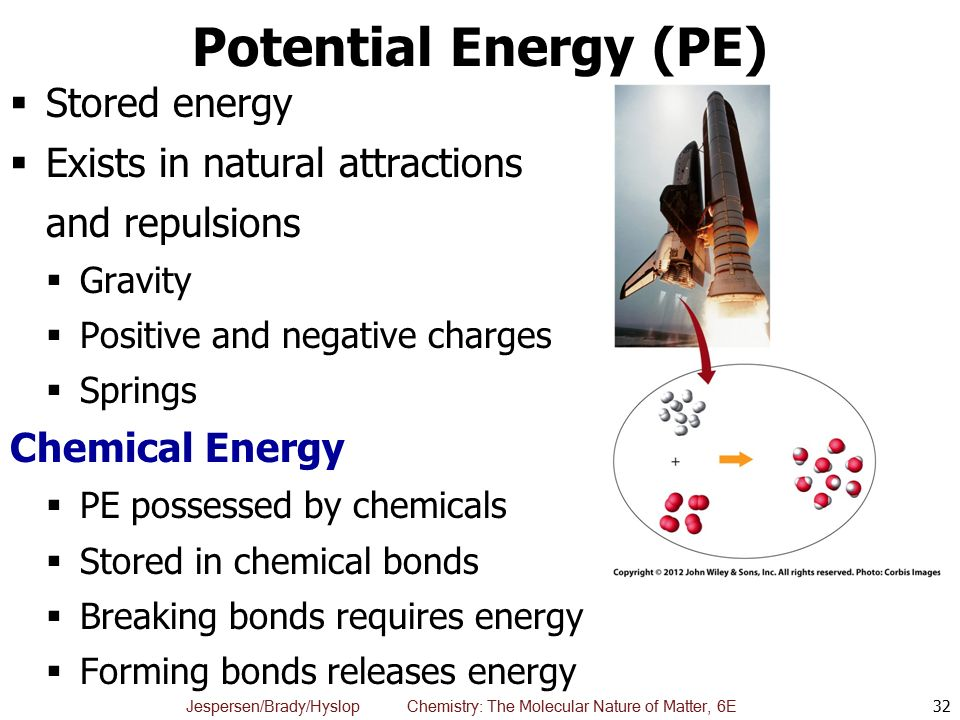 Potential Energy (PE) Stored energy Exists in natural attractions