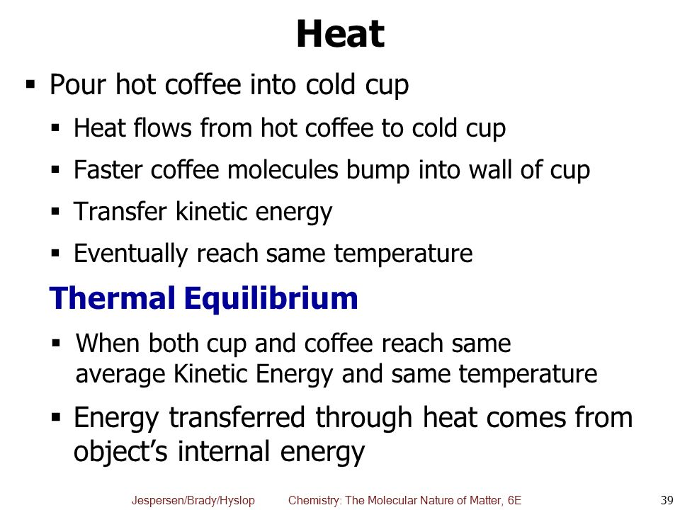 Heat Thermal Equilibrium Pour hot coffee into cold cup