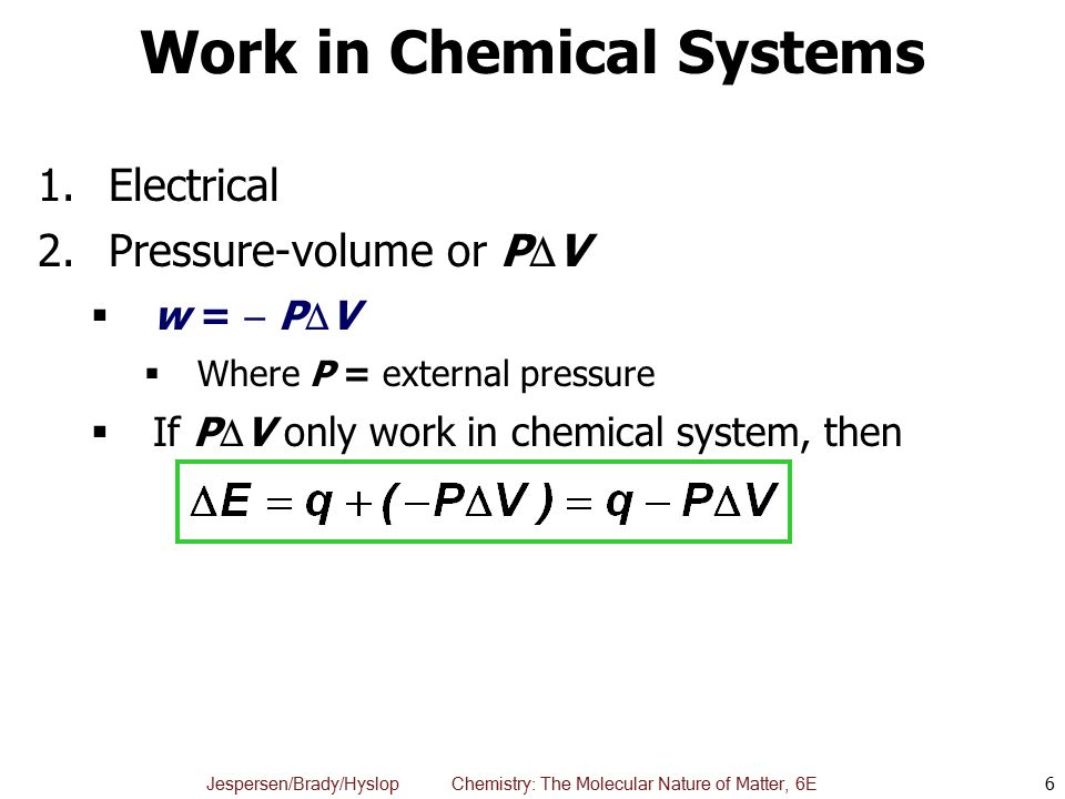 Work in Chemical Systems