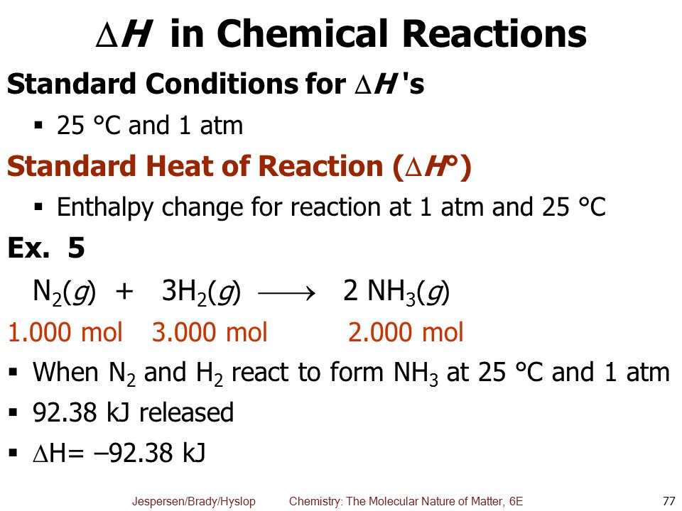 H in Chemical Reactions