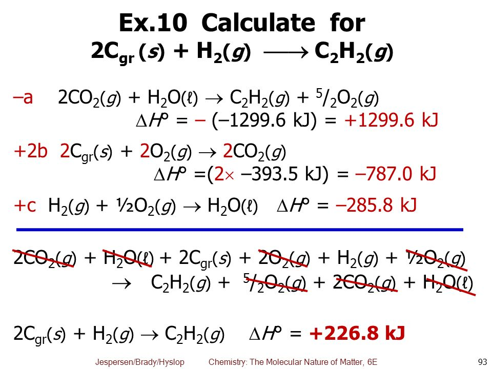 Ex.10 Calculate for 2Cgr (s) + H2(g)  C2H2(g)