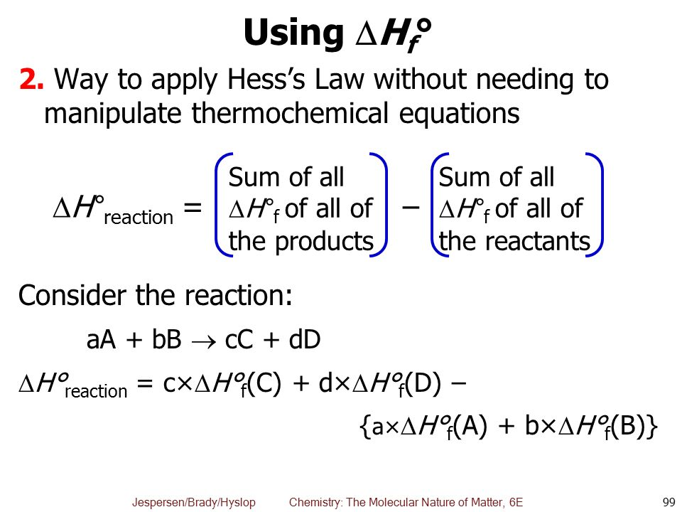Using Hf° H°reaction = –