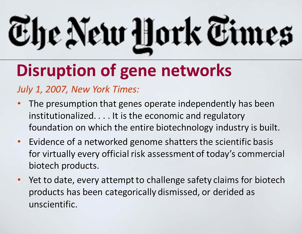 Disruption of gene networks