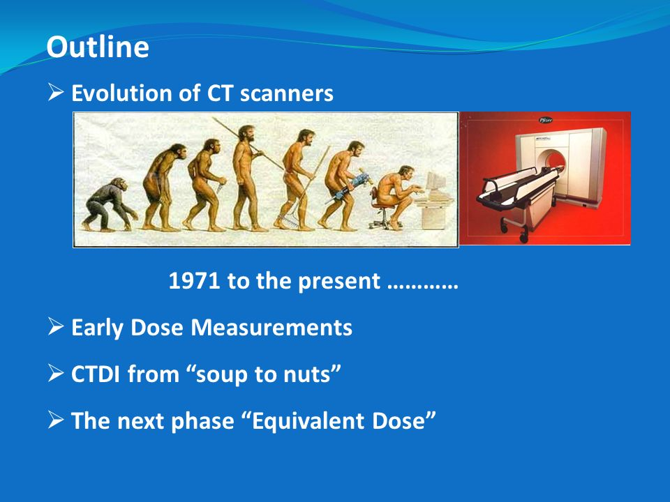 Outline Evolution of CT scanners 1971 to the present …………