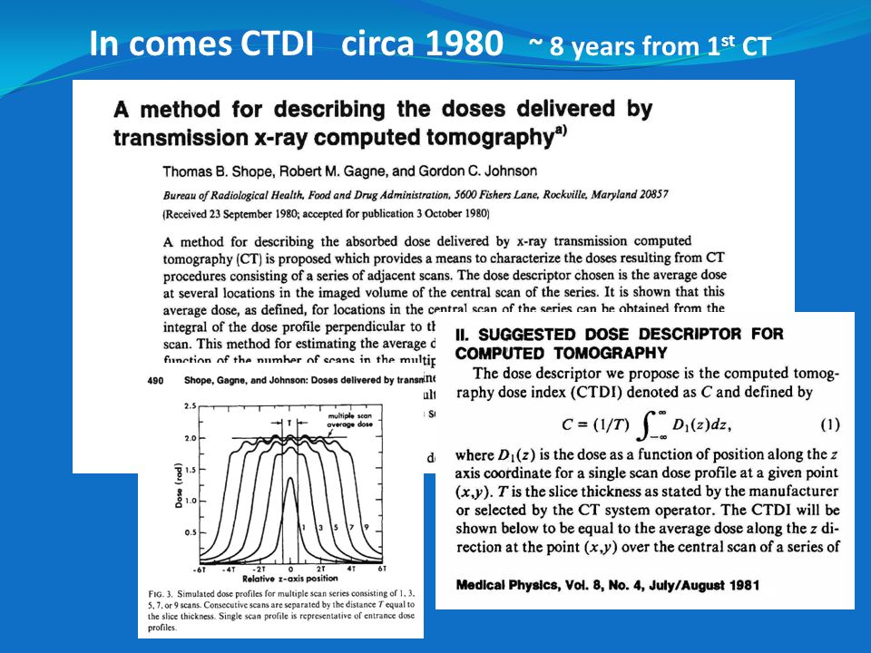 In comes CTDI circa 1980 ~ 8 years from 1st CT