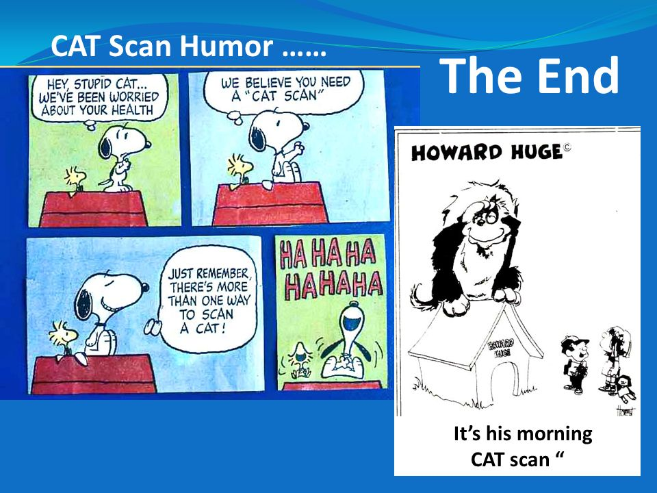 CAT Scan Humor …… The End It's his morning CAT scan